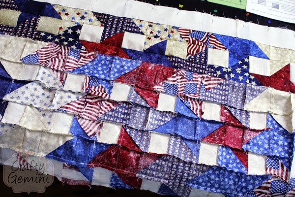 red white blue patriotic quilt seams
