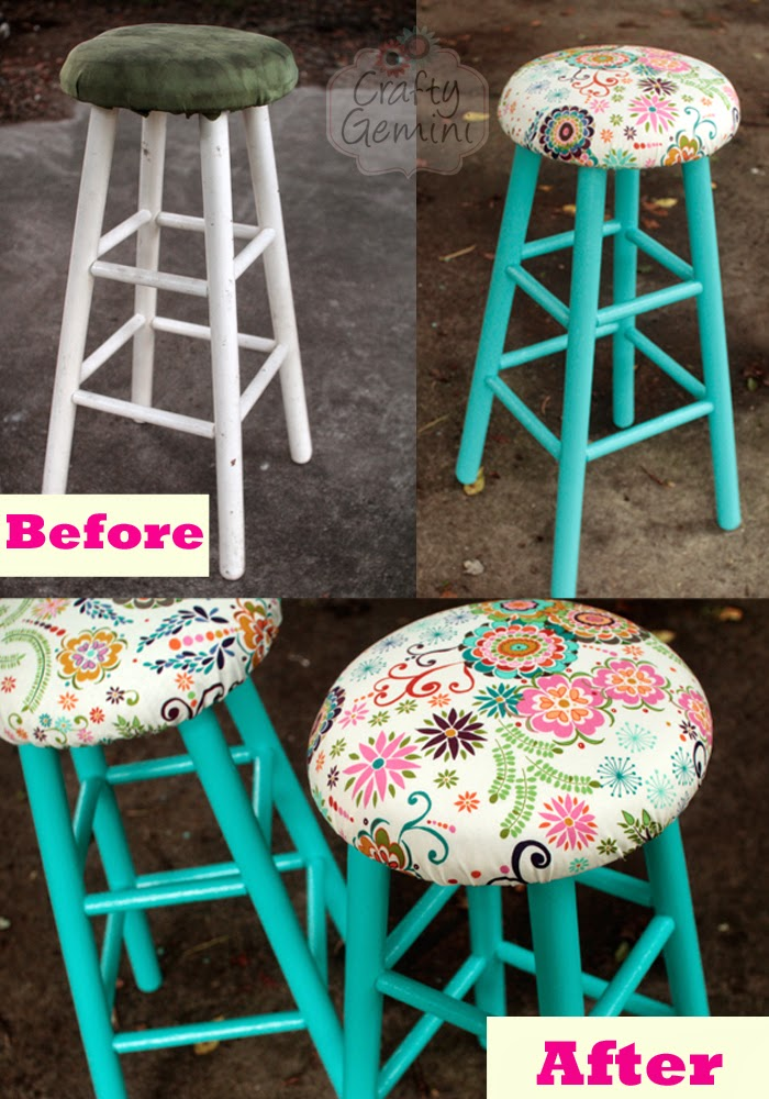 Bar Stool Makeover Video Tutorial Crafty Gemini