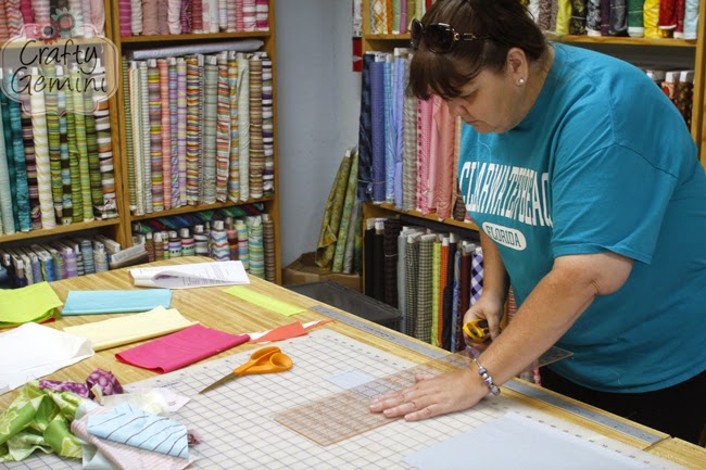 cutting fabric for a quilt block