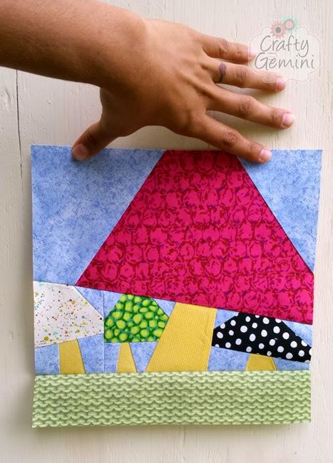 paper pieced mushrooms quilt block