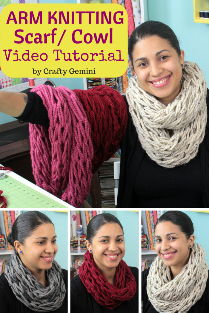 arm knitting video tutorial infinity scarf cowl