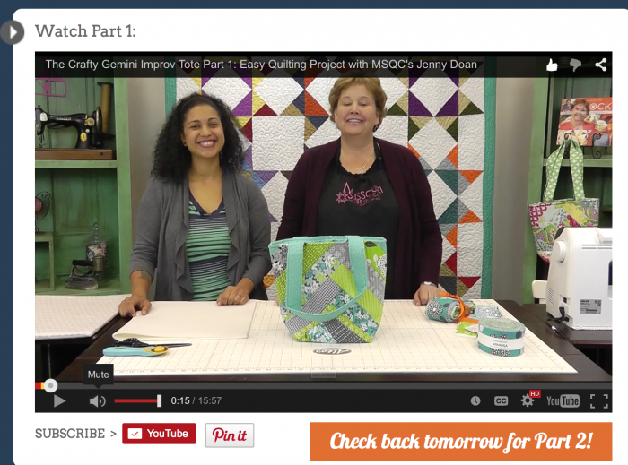 jenny doan MSQC and crafty gemini tutorial improv tote bag