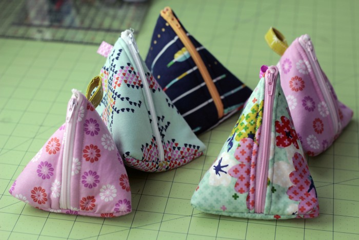 triangle zipper pouch with cotton and steel fabrics