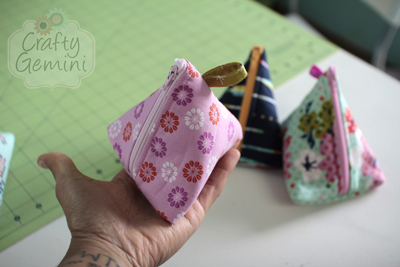triangle pouch with cotton and steel fabric