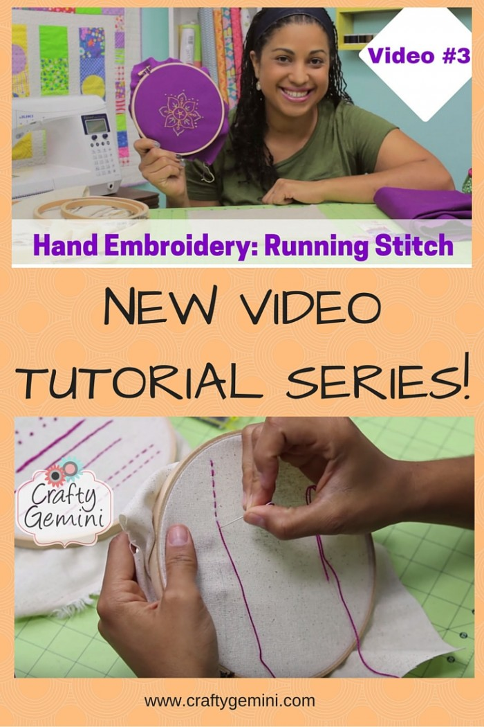 Hand Embroidery Video Series #3 how to do a running stitch