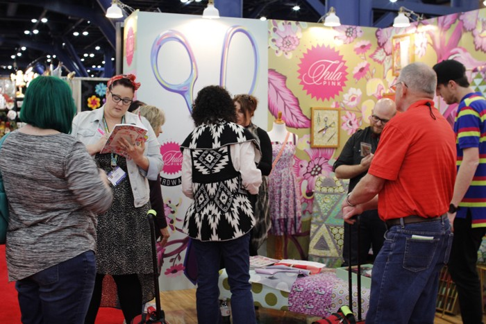 tula pink booth at fall 2015 quilt market