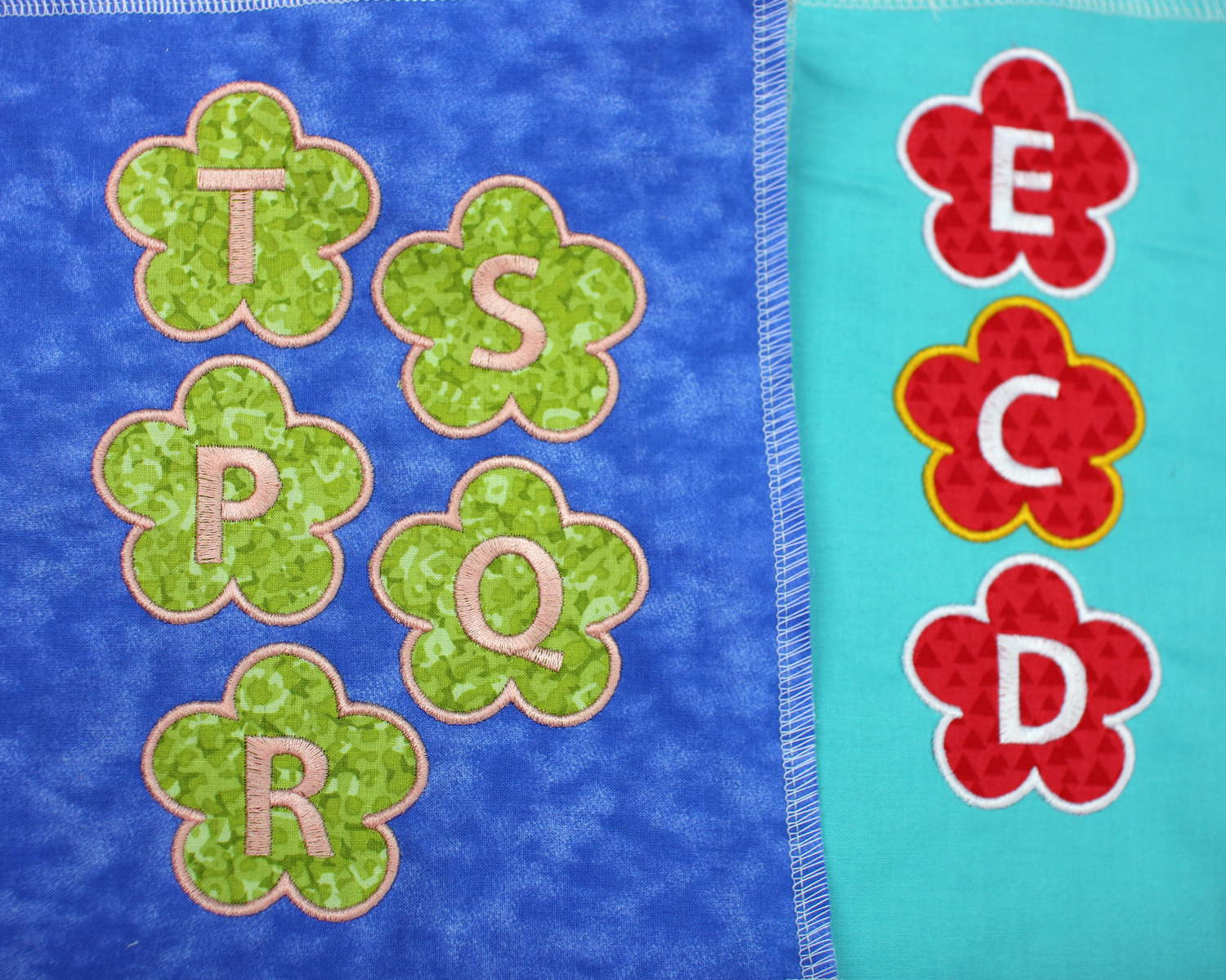 Flower applique with alphabet letters embroidery design