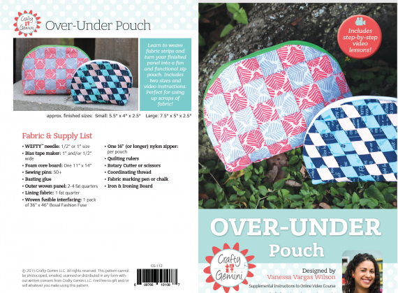 over-under pouch pattern and video course by crafty gemini with wefty needle