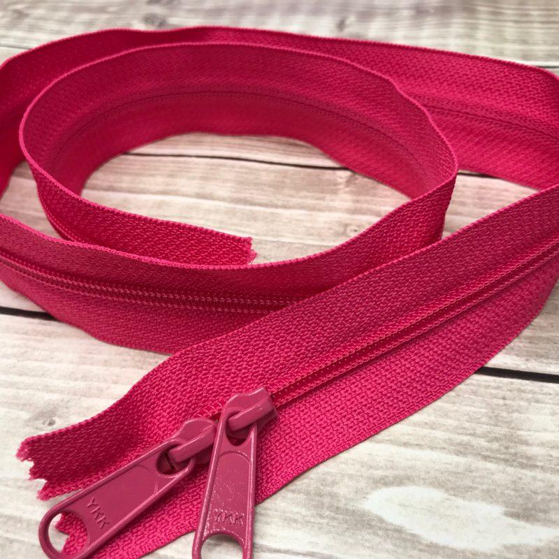 "hot pink ykk 30"" handbag zipper with double pull"