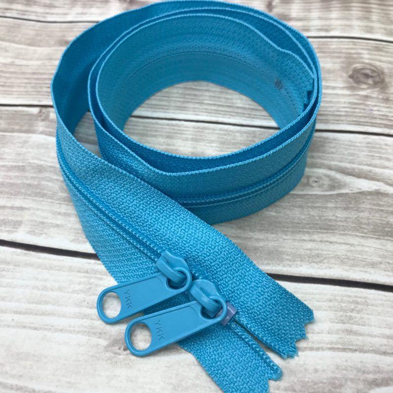 "PARROT BLUE ykk 30"" handbag zipper with double pull"