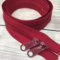 "cranberry red ykk 30"" handbag zipper with double pull"