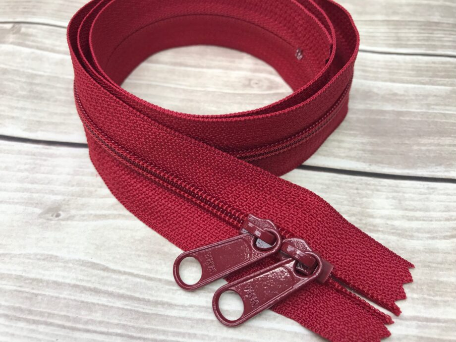 """cranberry red ykk 30"""" handbag zipper with double pull"""