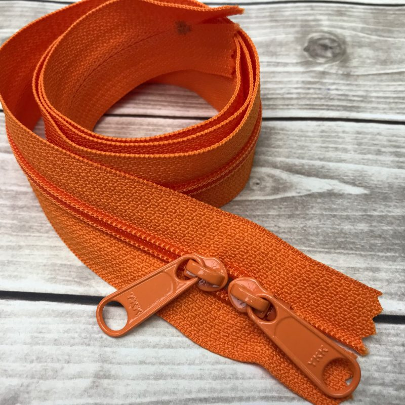 "orange 30"" handbag zipper with double pull"