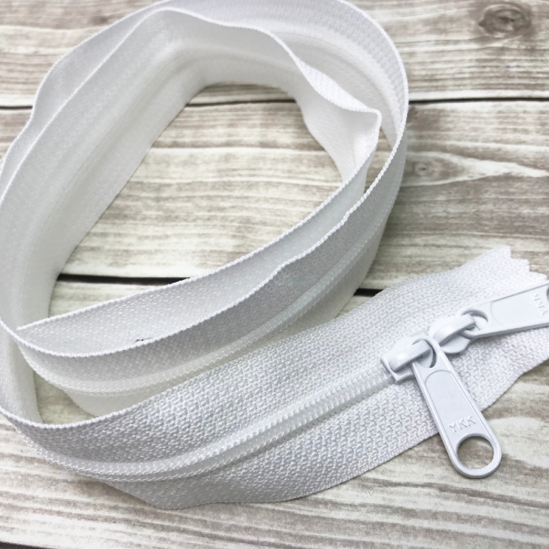 "white 30"" handbag zipper with double pull"