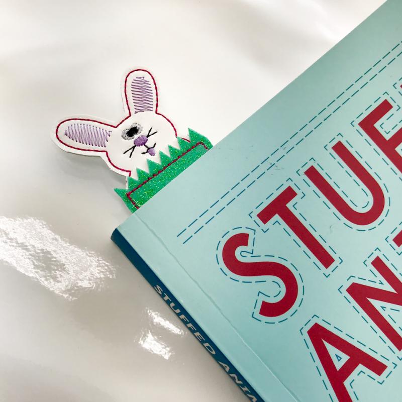 crafty gemini bunny bookmark ith embroidery design
