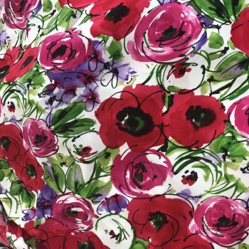 large scale red watercolor floral fabric rayon challis