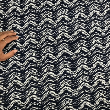textured navy white rayon challis fabric