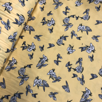 yellow butterflies and flowers double brushed polyester spandex fabric