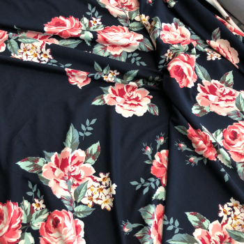 navy and multi color floral double brushed polyester spandex fabric