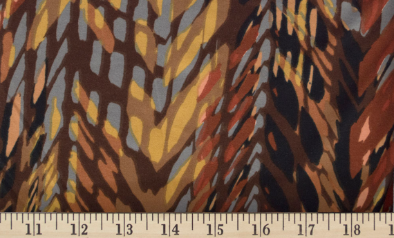 Chevron Abstract Dark Brown/ Gray/ Mustard double brushed polyester fabric