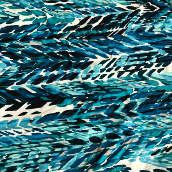 Chevron Abstract Aqua Blues double brushed polyester fabric