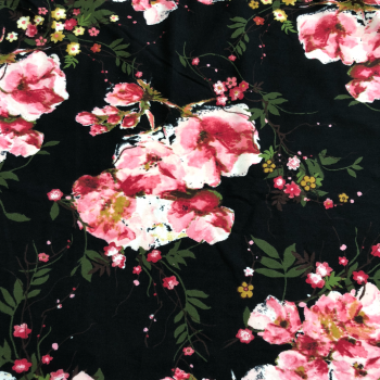 black pink floral double brushed polyester fabric