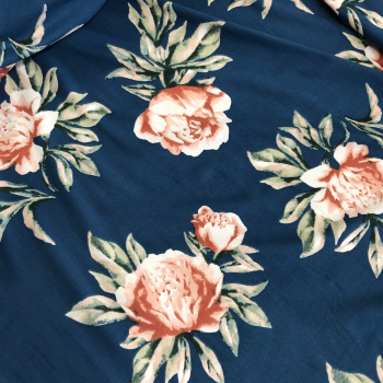 blue and coral floral double brushed polyester fabric