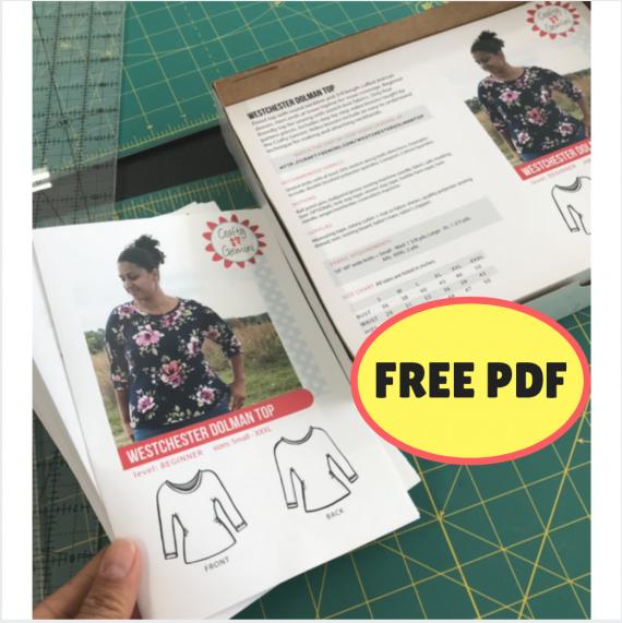 westchester dolman top free pdf pattern by Crafty Gemini