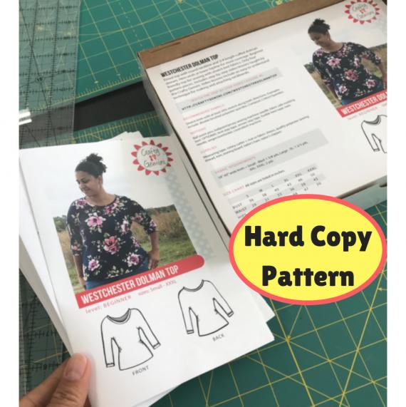 westchester dolman top hard copy pattern by crafty gemini