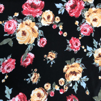 liverpool floral on black fabric