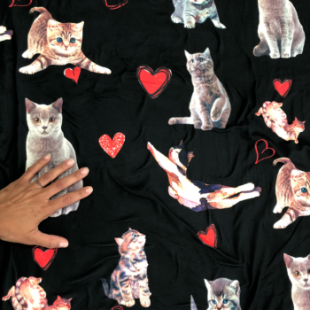 brushed poly spandex cat love fabric