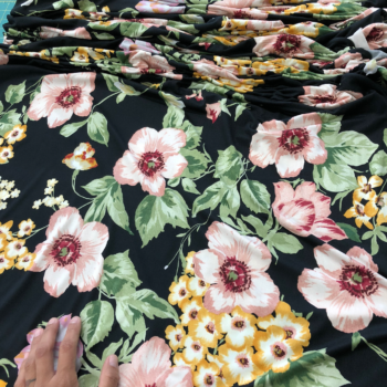 pink & yellow floral on black dbp fabric