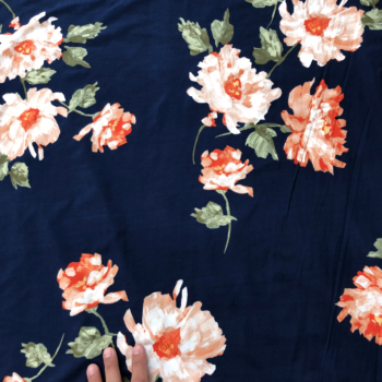 orange floral on navy dbp fabric