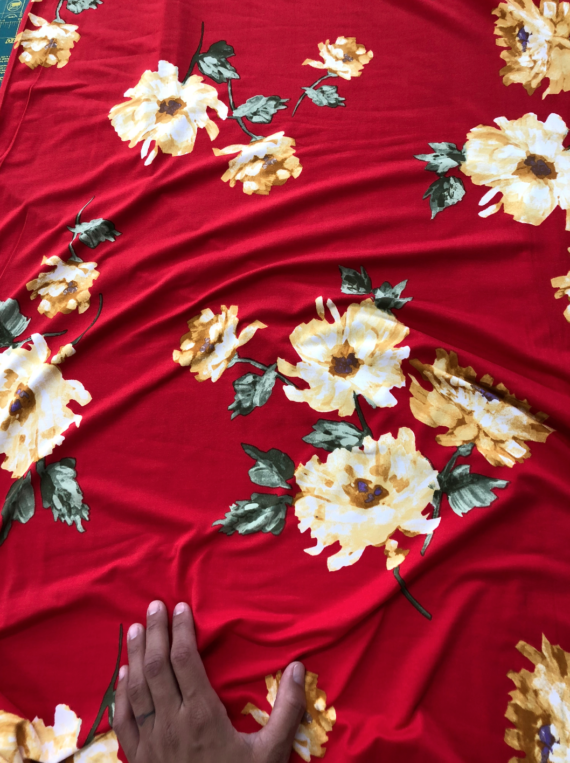 yellow floral on red dbp fabric