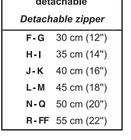 jalie size chart for zipper charlie bomber jacket