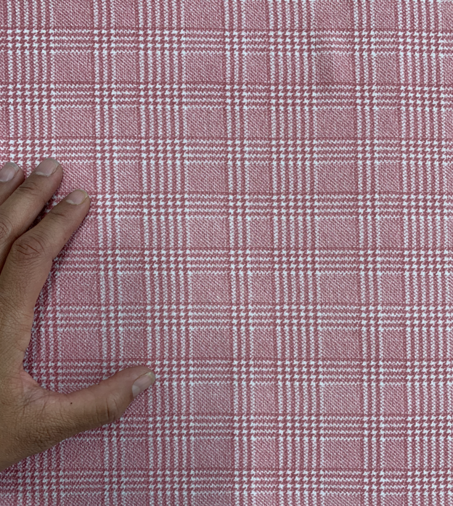 pink and white houndstooth plaid liverpool fabric