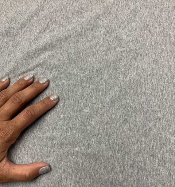 solid heathered gray cotton spandex jersey fabric