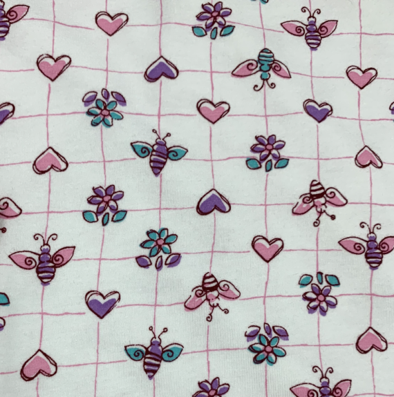 FLOWERS HEARTS AND BEES cotton spandex jersey fabric