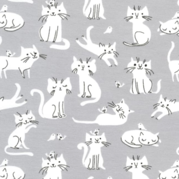 laguna jersey cotton spandex white cats on gray background