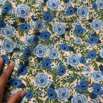 laguna floral jersey blue color way cotton spandex fabric