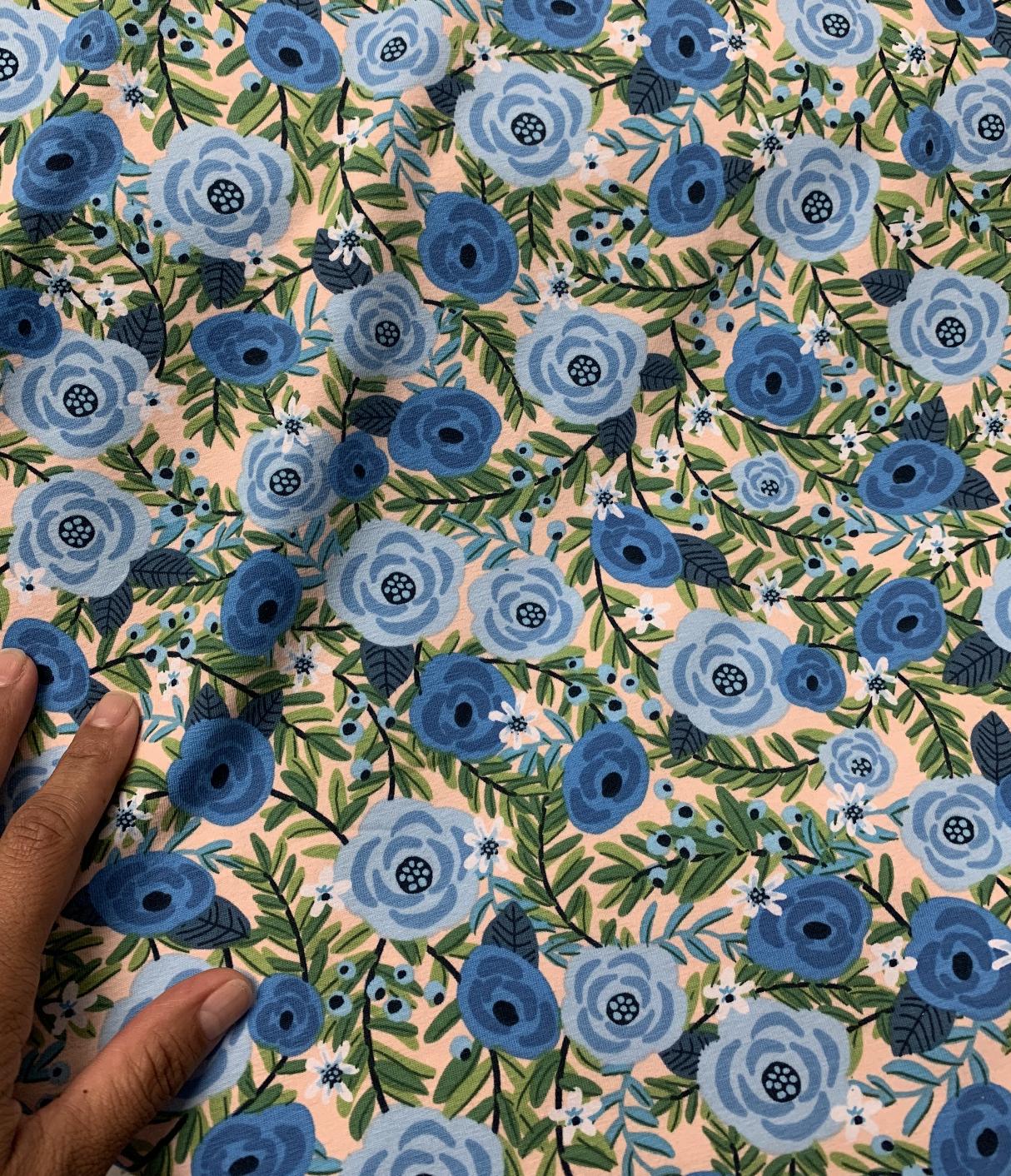 001aa2314eb laguna floral jersey blue color way cotton spandex fabric