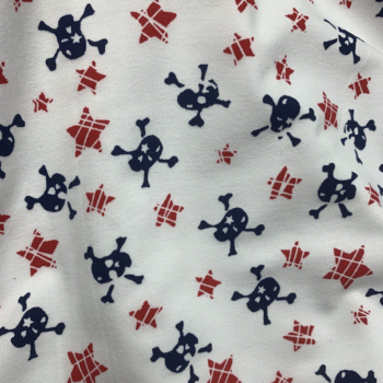 skulls and stars cotton spandex jersey fabric