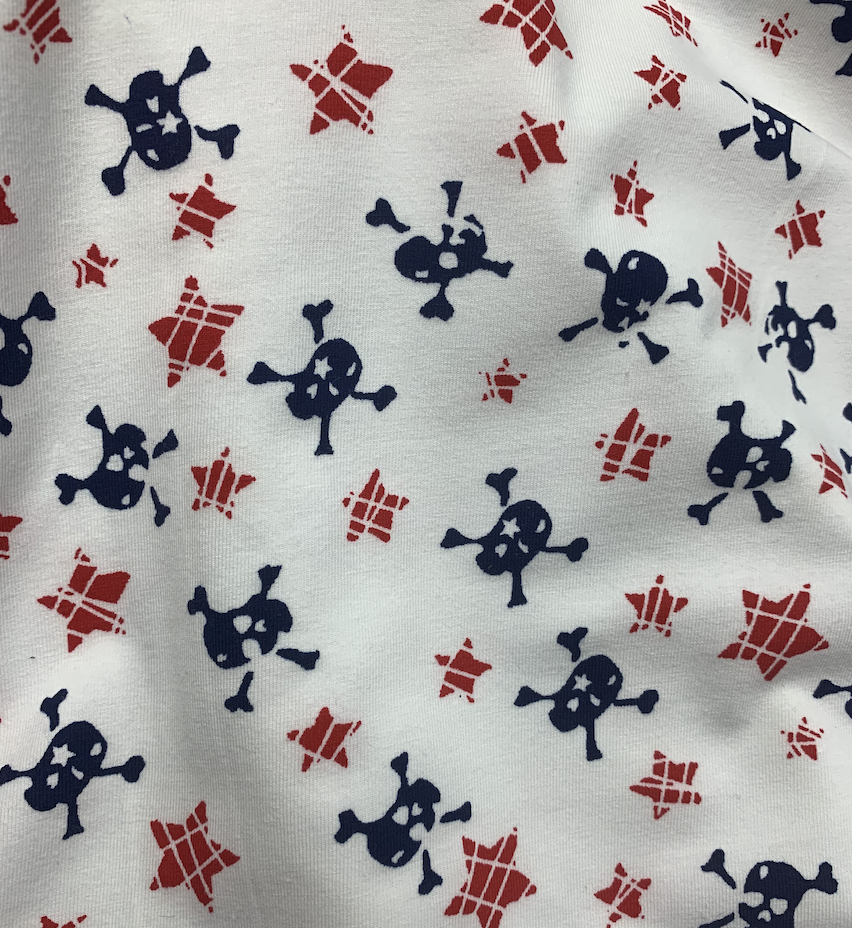 skulls and stars cotton spandex jersey fabric