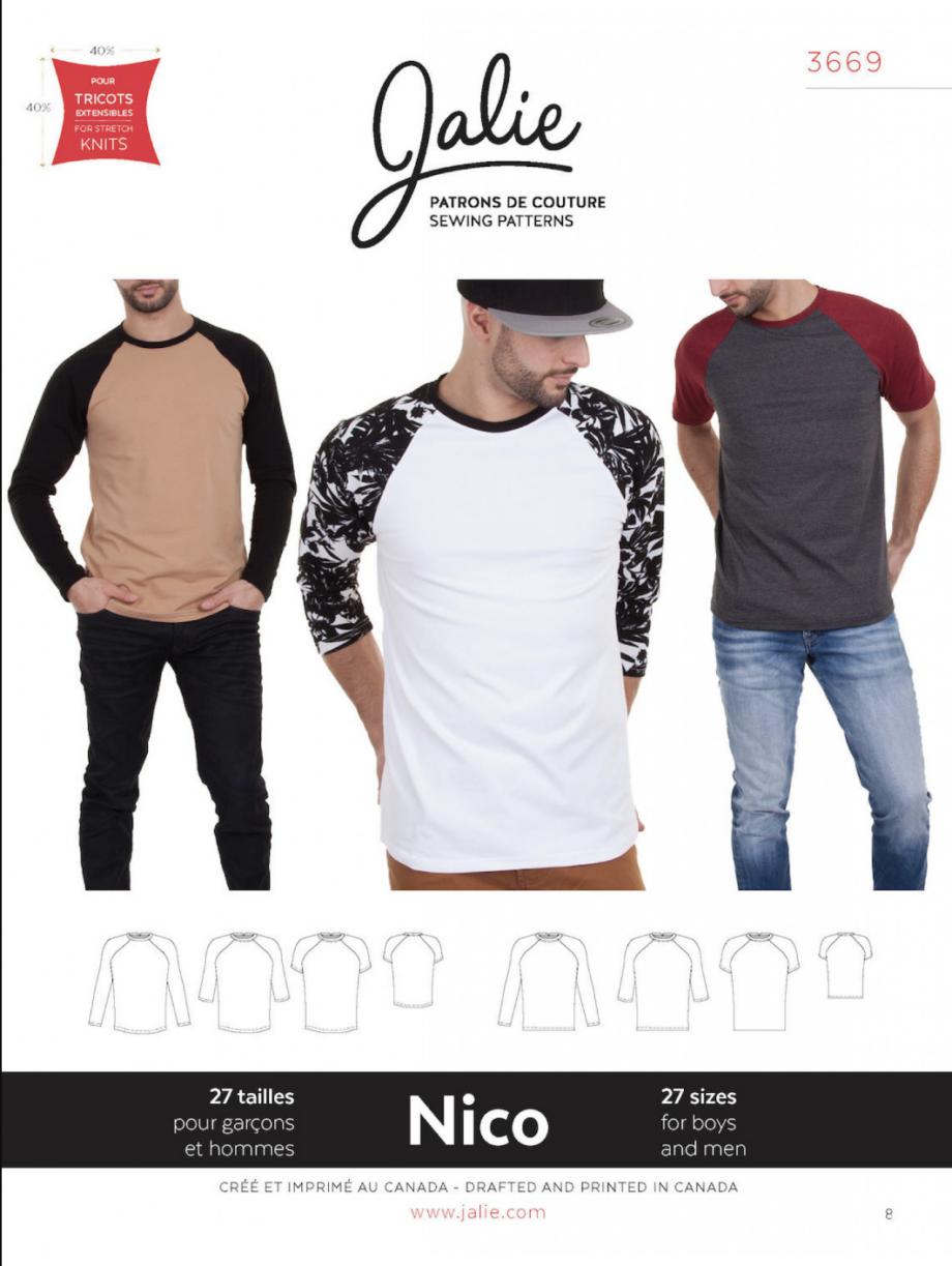 jalie 3669 nico mens boys raglan tee sewing pattern