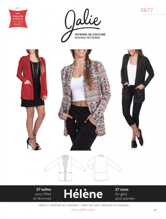 jalie 3677 helene cardigan sewing pattern