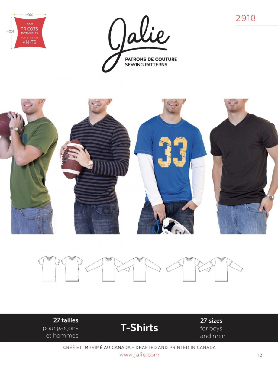 jalie 2918 boys and mens tshirt sewing pattern