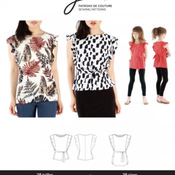 jalie 3888 Adele flutter sleeve top sewing pattern