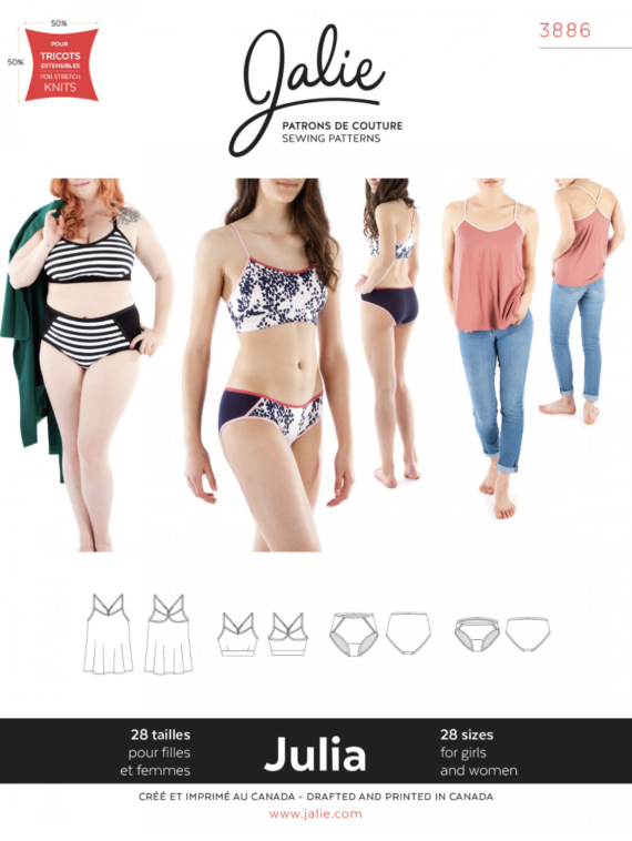 jalie 3886 JULIA Camisole, Bralette and Panties sewing pattern