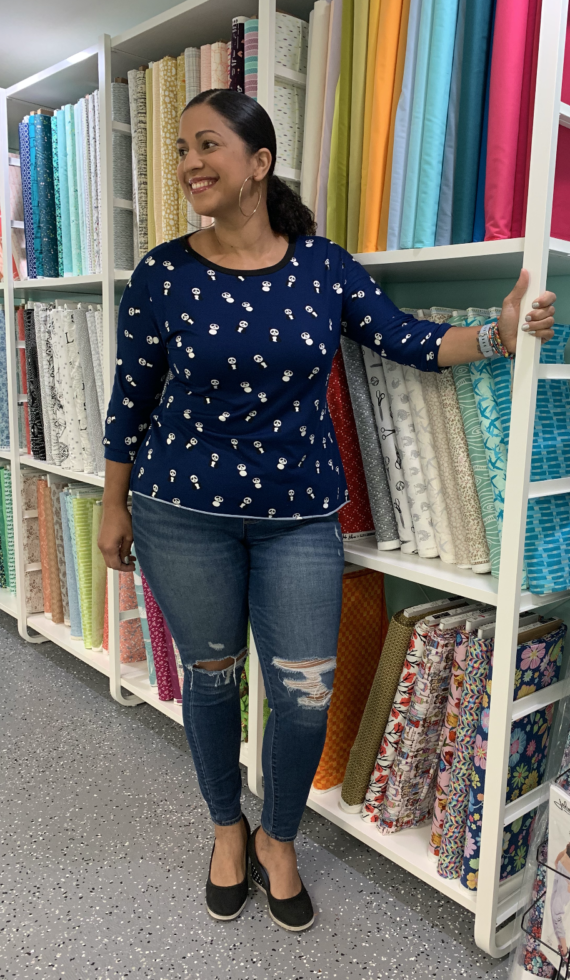 pandas on navy DBP fabric in westchester dolman top
