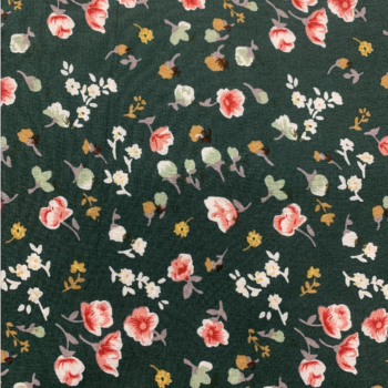 rayon challis hunter green mini floral fabric